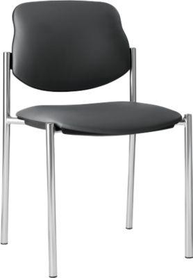 Bezoekersstoel STYL, lederoptik, zonder armleuningen, onderstel verchroomd, fango grey