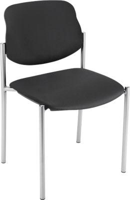 Bezoekersstoel STYL, lederoptik, zonder armleuningen, onderstel verchroomd, zwart