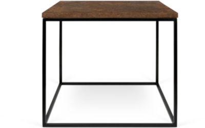 Bijzettafel Roestvrij, vierkant, kubusframe, B 500 x D 500 x H 450 mm, roestoptiek/zwart