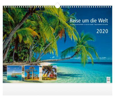 """Bildkalender """"Reise um die Welt"""", 440 x 360 mm, 4-sprachig, Motive ferner Länder, Werbefläche"""