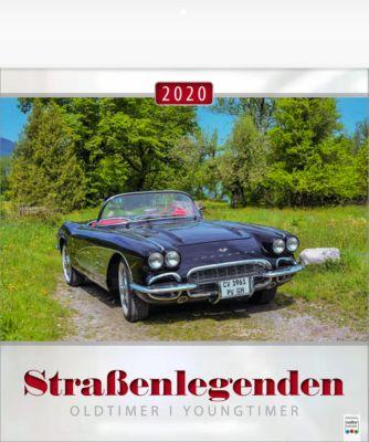 "Bildkalender ""Straßenlegenden"", 325 x 390 mm, 5-sprachig, Oldtimer-/Youngtimer-Motive, Werbefläche"