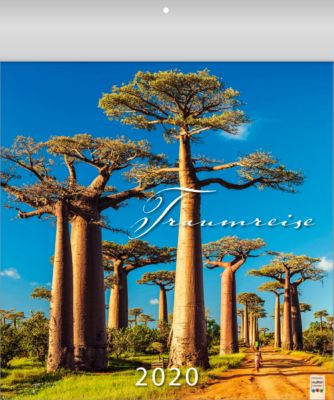 """Bildkalender """"Traumreise"""", B 325 x H 390 mm, 5-sprachig, mit Bildern ferner Länder, Werbefläche"""