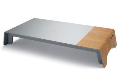 Bildschirmerhöhung sigel® smartstyle, bis 5 kg, mit Qi-Ladefunktion + 2 x USB 2.0, Kunststoff/Acryl, Metallic-Holz-Optik