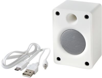 Bluetooth Lautsprecher OLD SCHOOL, 3 Watt, inkl. Ladekabel, Werbedruck optional, weiß