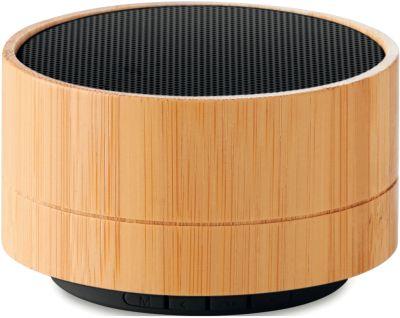 Bluetooth-Lautsprecher SOUND BAMBOO, 3 W, Bambus-Dekor, Randbeleuchtung, mit Werbefläche