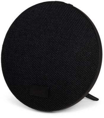 Bluetooth-Lautsprecher Wool, 2x3 W, 5 h Spielzeit, USB-Ladekabel + Ständer, Werbefläche 60x60 mm, schwarz