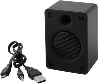 Bluetooth-luidspreker OLD SCHOOL, 3 Watt, incl. oplaadkabel, reclamedruk optioneel, zwart
