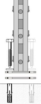 Bodenbefestigung (Schraube, Dübel und Unterlegscheibe)