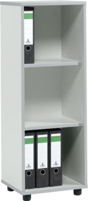 Boekenkast MOXXO IQ, hout, 3 vakken, 3 OH, B 401 x D 362 x H 1115 mm, lichtgrijs