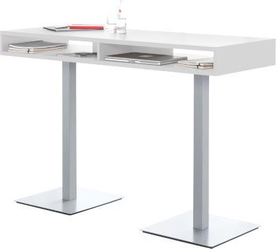 BOX sta-vergadertafel, met opbergvakken, B 1600 x D 600 x H 1050 mm, wit