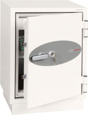 Brandbeveiligingskast FS 0441, sleutelslot, B 500 x D 500 x D 640 mm, staal, signaalwit RAL 9003, sleutelslot.