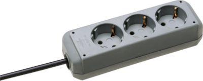 brennenstuhl® stekkerpanelen met randaarde, 3 -voudig, zonder schakelaar,  lichtgrijs