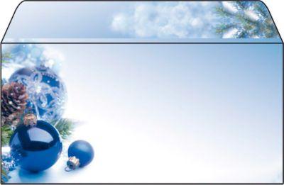 Briefumschlag mit Weihnachtsmotiv Sigel Blue Harmony, DIN lang, 90g/m², 50 Stück
