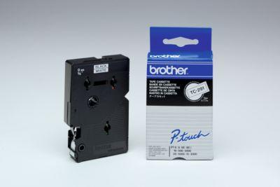 Brother Schriftbandkassette TC-291, 9 mm breit, weiß/schwarz