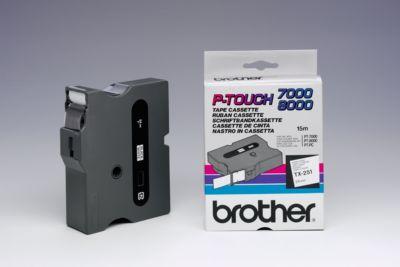 Brother Schriftbandkassette TX-251, 24 mm breit, weiß/schwarz