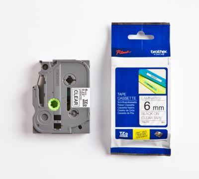 Brother Schriftbandkassette TZe-111, 6 mm breit, farblos/schwarz