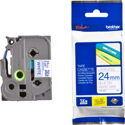 Brother Schriftbandkassette TZe-253, 24 mm, weiß/blau