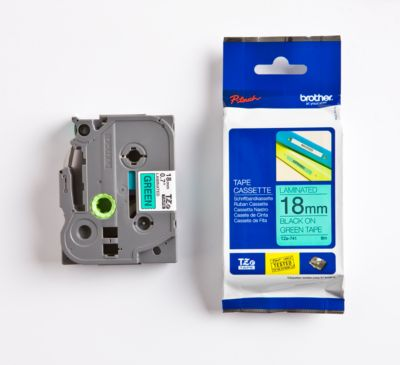 Brother Schriftbandkassette TZe-741, 18 mm breit, grün/schwarz
