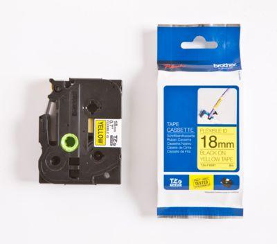 Brother Schriftbandkassette TZe-FX641, 18 mm breit, gelb/schwarz