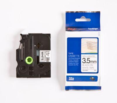 Brother Schriftbandkassette TZe-N201, 3,5 mm breit, weiß/schwarz