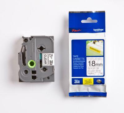 Brother Schriftbandkassette TZe-S141, 18 mm breit, farblos/schwarz