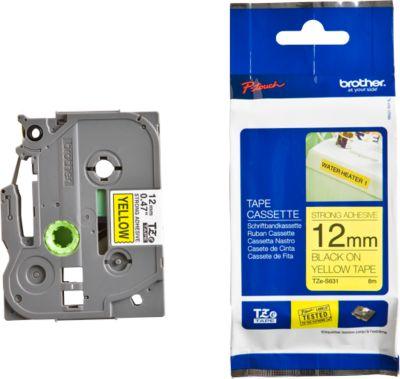 Brother Schriftbandkassette TZe-S631, 12 mm breit, gelb/schwarz