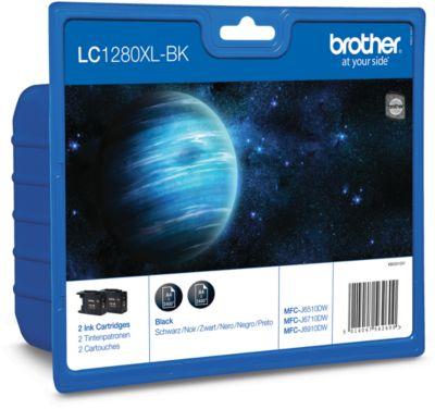 Brother Sparpaket 2 Tintenpatronen LC-1280XLBK, schwarz