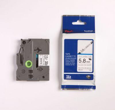 brother tapecassette TZ HSE-211, 5,8 mm, zwart/wit