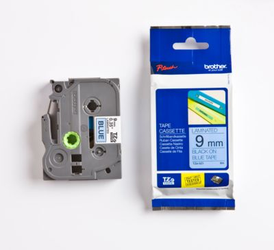 Brother tapecassette TZe-521, 9 mm breed, blauw/zwart