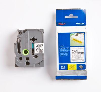 brother® tapecassette  TZe-S151, 24 mm, transparant/zwart,  per stuk