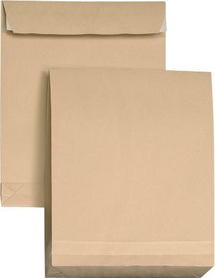 Bruine zak enveloppen, met balg, zelfklevend met bandbescherming, C4, 324 x 229 mm,pak van 5 stuks