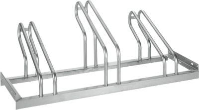 Bügelparker, 1-seitig, für Reifen bis B 55 mm, B 1050 x T 1850 x H 500 mm, Stahl feuerverzinkt, 3 Einstellplätze, montiert