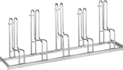 Bügelparker WSM, 1-seitig, für Reifen bis B 55 mm, B 1750 x T 1850 x H 740 mm, Stahl feuerverzinkt, 5 Einstellplätze, zerlegt