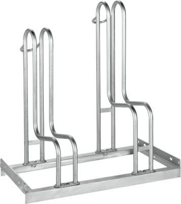 Bügelparker WSM, 1-seitig, für Reifen bis B 55 mm, B 700 x T 1850 x H 740 mm, Stahl feuerverzinkt, 2 Einstellplätze, zerlegt