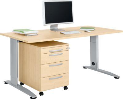 Büromöbelset 2-tlg. LOGIN C-Fuß Schreibtisch, B 1600 mm + Rollcontainer, 3 Schübe, Utensilienauszug, Zentralverschl., Ahorn-Dek.