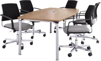 Büromöbelset 7tlg. Konferenztisch, Kirsche-Romana-Dekor, B 200 cm + 6 Konferenzsessel