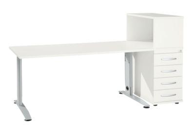 Büromöbelset LOGIN 2-teilig, Schreibtisch B 1600 mm + Anstellcontainer mit Aufsatzregal, weiß