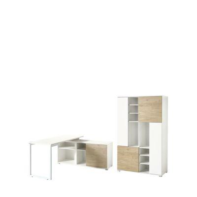 Büromöbelset PASEO 2-teilig eiche/weiß, Schreibtisch mit Regal, Kufengestell + Aktenschrank H 1780 mm