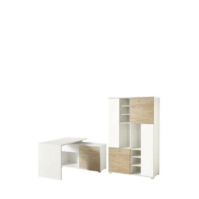 Büromöbelset PASEO 2-teilig eiche/weiß, Schreibtisch mit Regal, Wangengestell + Aktenschrank H 1780 mm