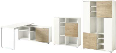 Büromöbelset PASEO 3-teilig eiche/weiß, Schreibtisch mit Regal, Kufengestell +2 Aktenschränke