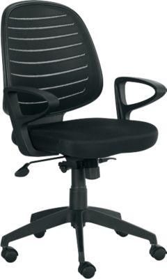 Bürostuhl PABLO, Wippmechanik, mit Armlehnen & Rückenlehne mit Netzbespannung, Komfortpolstersitz