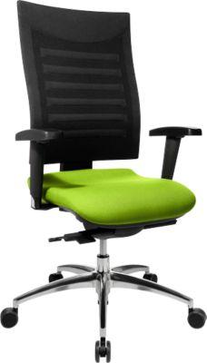 Bürostuhl SSI PROLINE S3, Synchronmechanik, mit Armlehnen, 3D-Netz-Rückenlehne, Bandscheibensitz, apfelgrün/schwarz