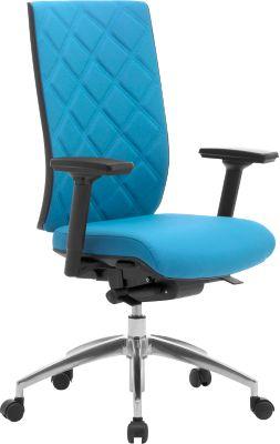 Bürostuhl WIKI, mit Armlehnen, Stoff-Rücken, Gestell Aluminium poliert, lichtblau