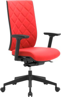 Bürostuhl WIKI, mit Armlehnen, Stoff-Rücken, Gestell Kunststoff, rot