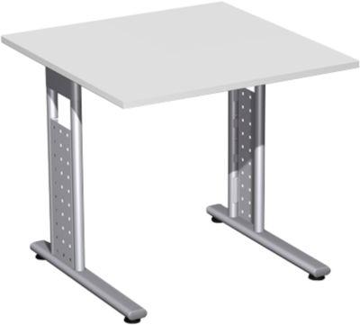 Bureau 800 x 800 x 680/820 mm,onderstel zilver, lichtgrijs