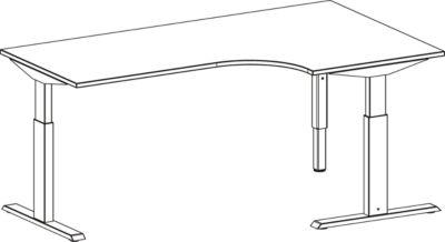Bureau d'angle ERGO-T 90°, pied-T, retour à droite, hauteur réglable manuellement, l. 2000 mm, décor hêtre