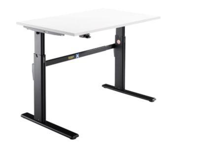 Bureau, elektrisch in hoogte verstelbaar, rechthoekig, C-poot, wit/zwart, B 1200 mm