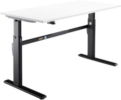 Bureau, elektrisch in hoogte verstelbaar, rechthoekig, C-poot, wit/zwart, B 1800 mm