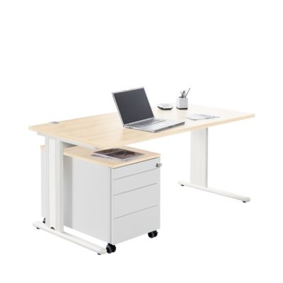 Bureau+rolcontainer+ Accentstrips PLANOVA BASIC, ahorndecor/wit