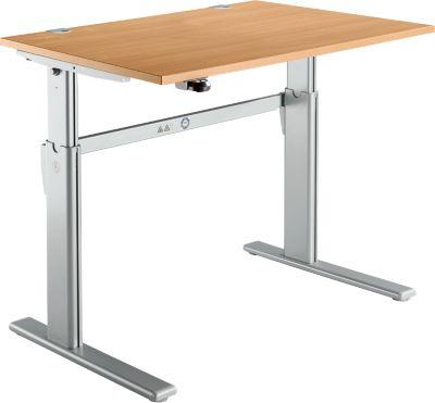 Bureau standaard, C-poot, rechthoekig, elektrisch in hoogte verstelbaar, B 1200 x D 800 x H 725-1185 mm, beukenhouten uitvoering